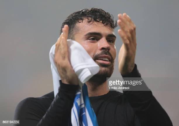Andrea Petagna of Atalanta BC greets the fans at the end of the UEFA Europa League group E match between Atalanta and Apollon Limassol at Mapei...