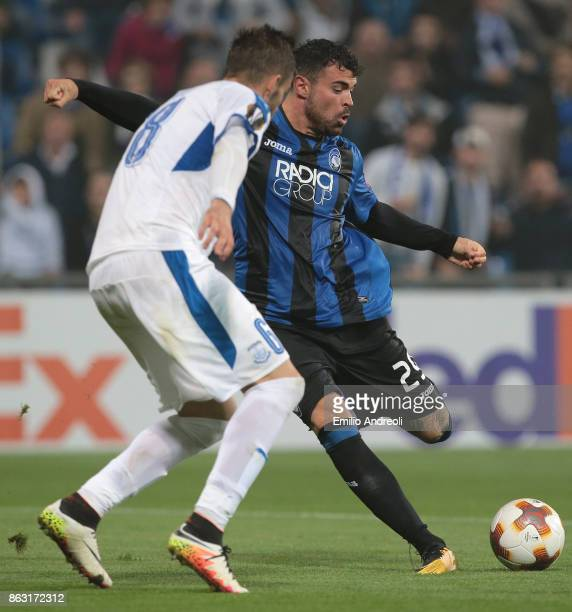 Andrea Petagna of Atalanta BC kicks the ball during the UEFA Europa League group E match between Atalanta and Apollon Limassol at Mapei Stadium...