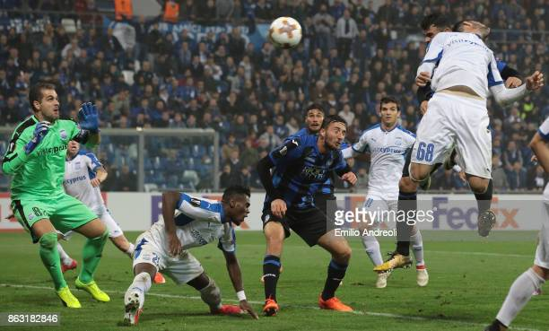 Andrea Petagna of Atalanta BC scores his goal during the UEFA Europa League group E match between Atalanta and Apollon Limassol at Mapei Stadium...