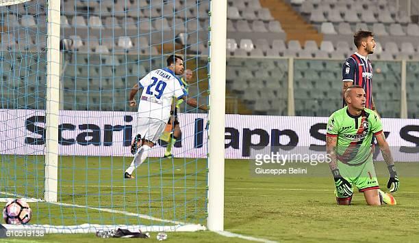 Andrea Petagna of Atalanta BC scores the opening goal during the Serie A match between FC Crotone and Atalanta BC at Adriatico Stadium on September...