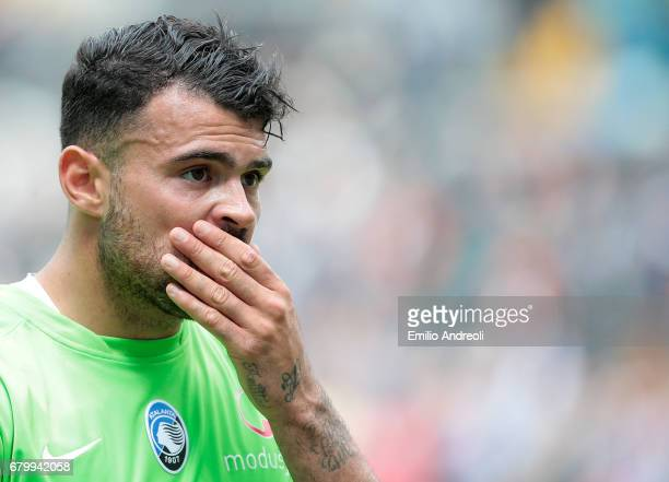 Andrea Petagna of Atalanta BC shows his dejection at the end of the Serie A match between Udinese Calcio and Atalanta BC at Stadio Friuli on May 7...