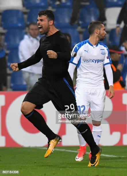 Andrea Petagna of Atalanta celebrates after scoring the 21 goal during the UEFA Europa League group E match between Atalanta and Apollon Limassol at...