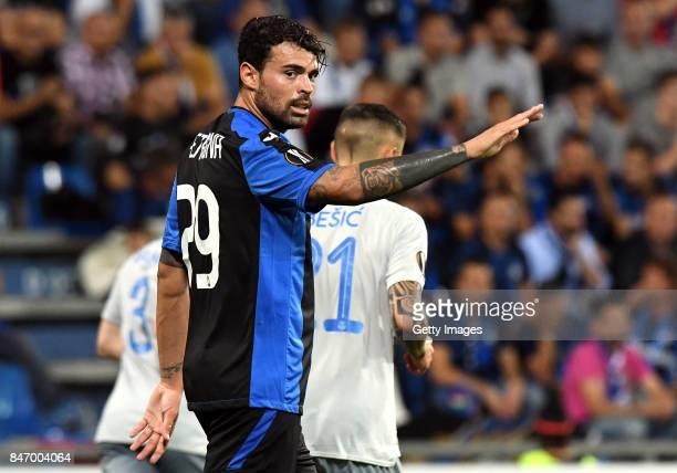Andrea Petagna of Atalanta reacts during the UEFA Europa League group E match between Atalanta and Everton FC at Stadio Citta del Tricolore on...