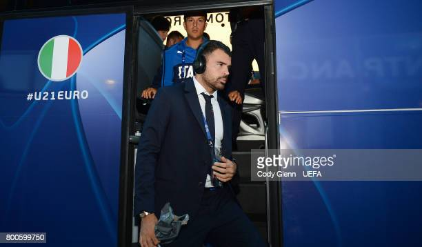 Andrea Petagna of Italy arrives before the UEFA European Under21 Championship 2017 match against Germany on June 24 2017 in Krakow Poland