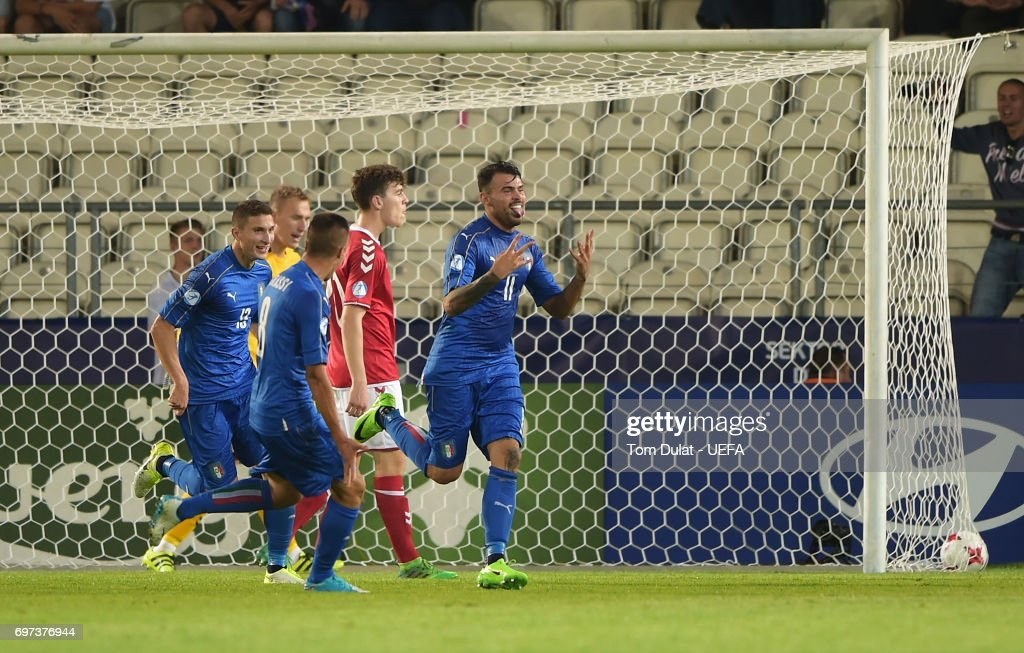 Andrea Petagna of Italy celebrates scoring his sides second goal during the UEFA European Under-21 Championship Group C match between Denmark and Italy at Krakow Stadium on June 18, 2017 in Krakow, Poland.
