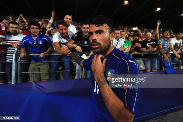 Andrea Petagna of Italy celebrates victory with fans after the 2017 UEFA European Under21 Championship Group C match between Italy and Germany at...
