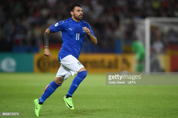 Andrea Petagna of Italy comes on as a substitute during their UEFA European Under21 Championship 2017 match against Germany on June 24 2017 in Krakow...