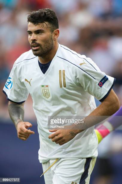 Andrea Petagna of Italy during the UEFA European Under21 Championship 2017 Group C between Czech Republic and Italy at Tychy Stadium in Tychy Poland...