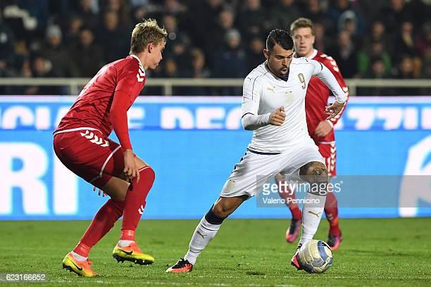 Andrea Petagna of Italy turns Andreas Maxso of Denmark during the International Friendly match between Italy U21 and Denmark U21 at Stadio Atleti...