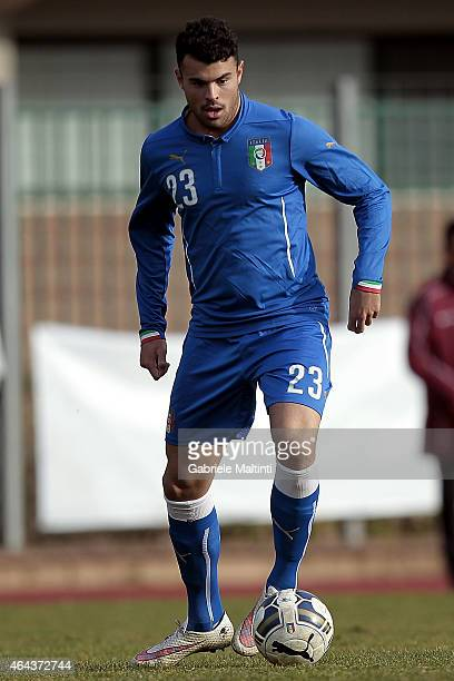 Andrea Petagna of Italy U20 in action during the international friendly match between Italy U20 and Qatar U20 on February 25 2015 in Montelupo...