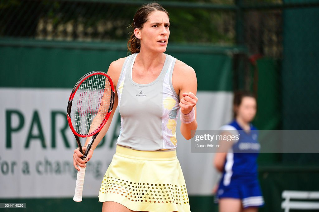 Andrea Petkovic during the Women's Singles second round on day five of the French Open 2016 at Roland Garros on May 26, 2016 in Paris, France.