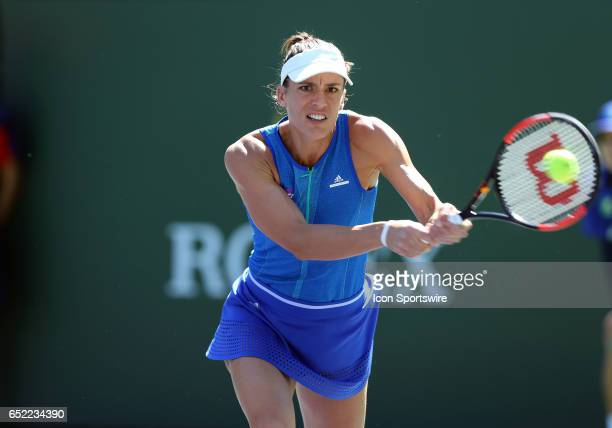 Andrea Petkovic hits a backhand during the second round of the BNP Paribas Open on March 11 at the Indian Wells Tennis Gardens in Indian Wells CA