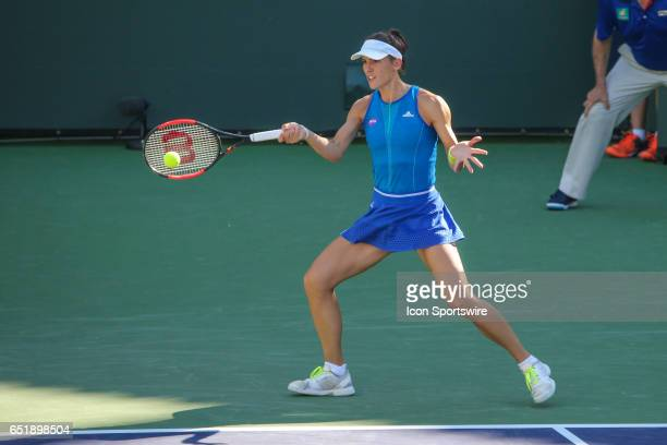 Andrea Petkovic hits a forehand in the first round of the BNP Paribas Open on March 9 2017 at Indian Wells Tennis Garden in Indian Wells CA