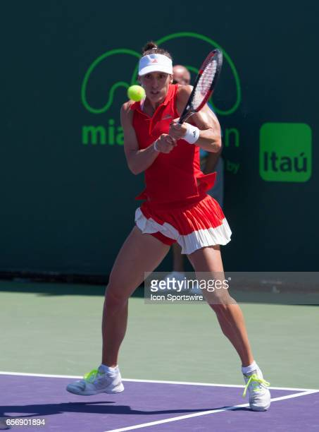 Andrea Petkovic in action during the Miami Open on March 22 at the Tennis Center at Crandon Park in Key Biscayne FL