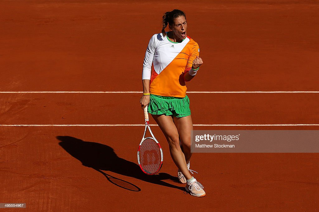 Andrea Petkovic of Germany celebrates a point during her women's singles quarter-final match against Sara Errani of Italy on day eleven of the French Open at Roland Garros on June 4, 2014 in Paris, France.