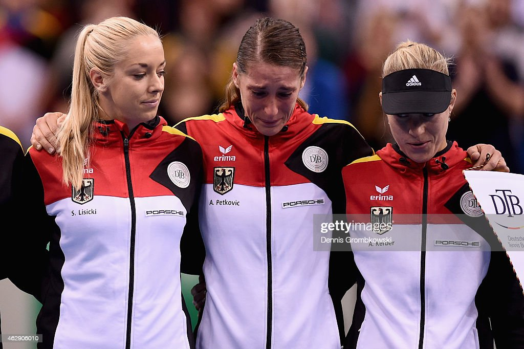 Andrea Petkovic of Germany cries as the national anthem is played prior to the Fed Cup 2015 World Group First Round tennis between Germany and Australia at Porsche-Arena on February 7, 2015 in Stuttgart, Germany.
