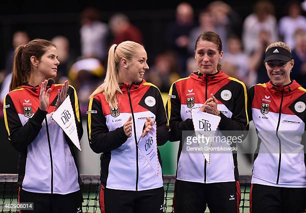 Andrea Petkovic of Germany cries as the national anthem is played prior to the Fed Cup 2015 World Group First Round tennis between Germany and...