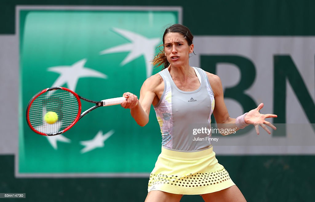 <a gi-track='captionPersonalityLinkClicked' href=/galleries/search?phrase=Andrea+Petkovic&family=editorial&specificpeople=4253746 ng-click='$event.stopPropagation()'>Andrea Petkovic</a> of Germany hits a forehand during the Ladies Singles second round match against Yulia Putintseva of Kazakstan on day five of the 2016 French Open at Roland Garros on May 26, 2016 in Paris, France.
