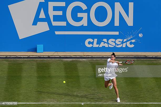 Andrea Petkovic of Germany in action against Katerina Siniakova of Czech Republic on day two of the Aegon Classic at Edgbaston Priory Club on June 16...