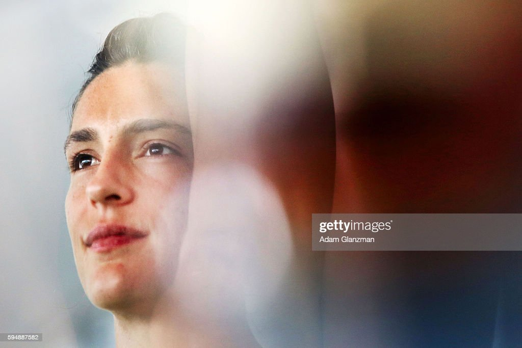 Andrea Petkovic of Germany looks on during a luncheon held by Toni Harp, the Mayor of New Haven, Connecticut, on day 4 of the Connecticut Open at the Connecticut Tennis Center at Yale on August 24, 2016 in New Haven, Connecticut.
