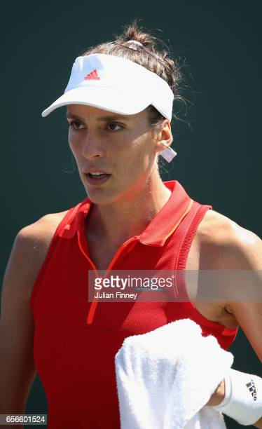 Andrea Petkovic of Germany looks on in her match against Jana Cepelova of Slovakia at Crandon Park Tennis Center on March 22 2017 in Key Biscayne...