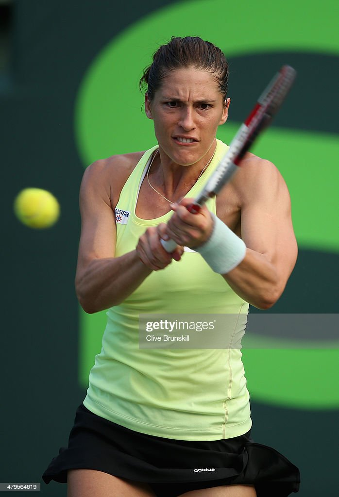 Andrea Petkovic of Germany plays a backhand against Maria-Teresa Torro-Flor of Spain during their first round match during day 3 at the Sony Open at Crandon Park Tennis Center on March 19, 2014 in Key Biscayne, Florida.
