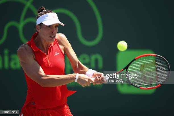 Andrea Petkovic of Germany plays a backhand in her match against Jana Cepelova of Slovakia at Crandon Park Tennis Center on March 22 2017 in Key...