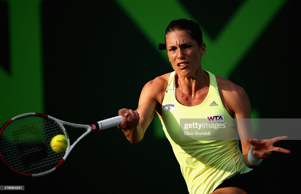 Andrea Petkovic of Germany plays a forehand against Maria-Teresa Torro-Flor of Spain during their first round match during day 3 at the Sony Open at Crandon Park Tennis Center on March 19, 2014 in Key Biscayne, Florida.
