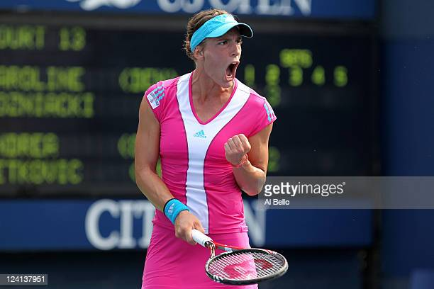 Andrea Petkovic of Germany reacts against Caroline Wozniacki of Denmark during Day Eleven of the 2011 US Open at the USTA Billie Jean King National...