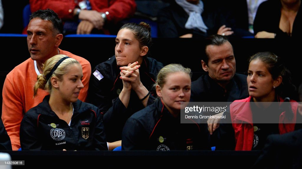 <a gi-track='captionPersonalityLinkClicked' href=/galleries/search?phrase=Andrea+Petkovic&family=editorial&specificpeople=4253746 ng-click='$event.stopPropagation()'>Andrea Petkovic</a> of Germany reacts during day two of the Federation Cup 2012 World Group Play-Off match between Germany and Australia at Porsche Arena on April 22, 2012 in Stuttgart, Germany.