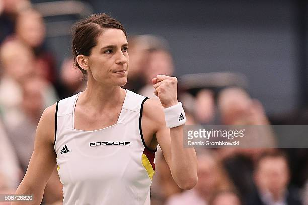 Andrea Petkovic of Germany reacts during her match against Belinda Bencic of Switzerland during Day 1 of the 2016 Fed Cup World Group First Round...
