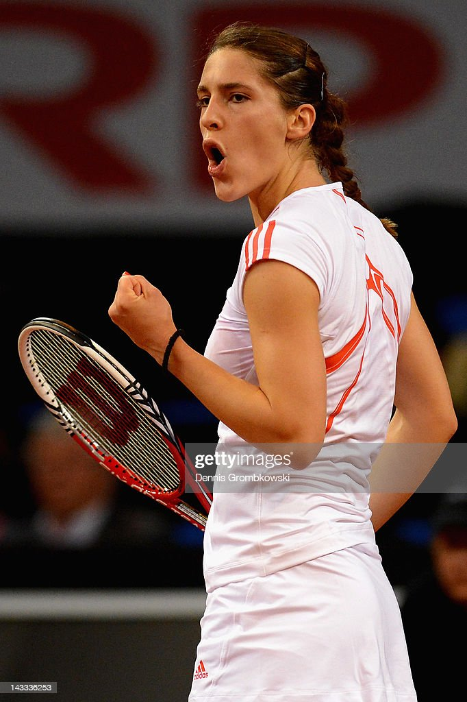 Andrea Petkovic of Germany reacts during her match against Kristina Barrois of Germany during day two of the WTA Porsche Tennis Grand Prix at Porsche Arena on April 24, 2012 in Stuttgart, Germany.