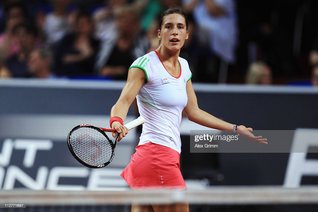 Andrea Petkovic of Germany reacts during her Quarter Final match against Caroline Wozniacki of Denmark at the Porsche Tennis Grand Prix at Porsche Arena on April 21, 2011 in Stuttgart, Germany.