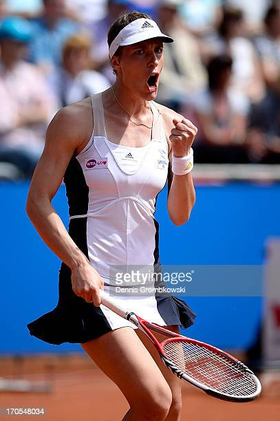 Andrea Petkovic of Germany reacts during her semifinal match against Jelena Jankovic of Serbia during day seven of the Nuernberger Insurance Cup on...