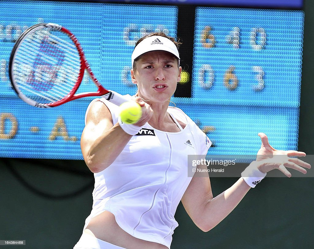 Andrea Petkovic of Germany returns a shot against Aja Tomljanovic of Croatia during a third-round mactch in the women's singles at the Sony Open Tennis in Key Biscayne, Florida, Florida, Saturday, March 23, 2013. Tomljanovic defeated Petkovic, 6-0, 3-6. 7-6.
