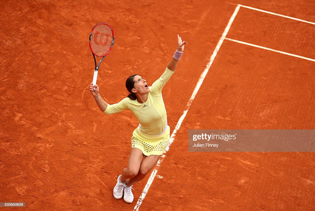 Andrea Petkovic of Germany serves during the Women's Singles first round match against Laura Robson of Great Britain on day three of the 2016 French Open at Roland Garros on May 24, 2016 in Paris, France.