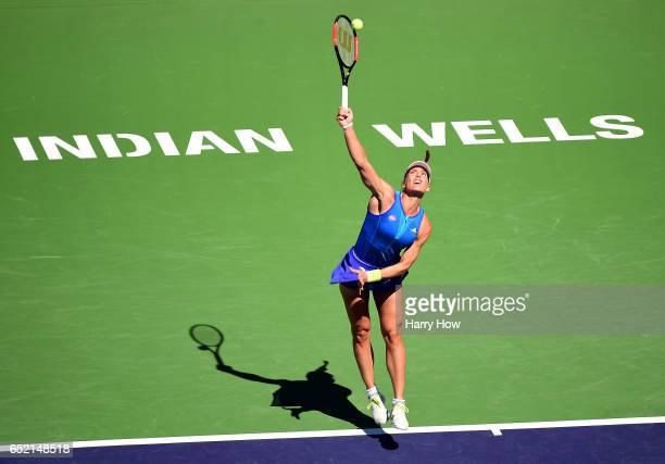 Andrea Petkovic of Germany serves in her match against Angelique Kerber of Germany at Indian Wells Tennis Garden on March 11 2017 in Indian Wells...