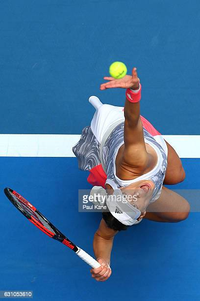 Andrea Petkovic of Germany serves to Heather Watson of Great Britain in the women's singles match during day six of the 2017 Hopman Cup at Perth...