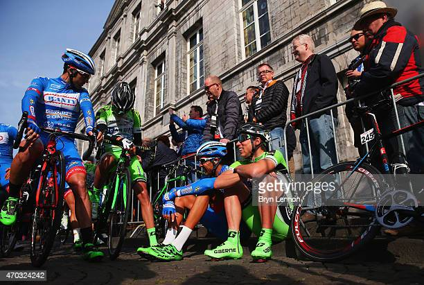 Andrea Piechele of Italy and Bardiani CSF talks to fellow riders prior to the start of the 50th edition of the Amstel Gold Race on April 19 2015 in...