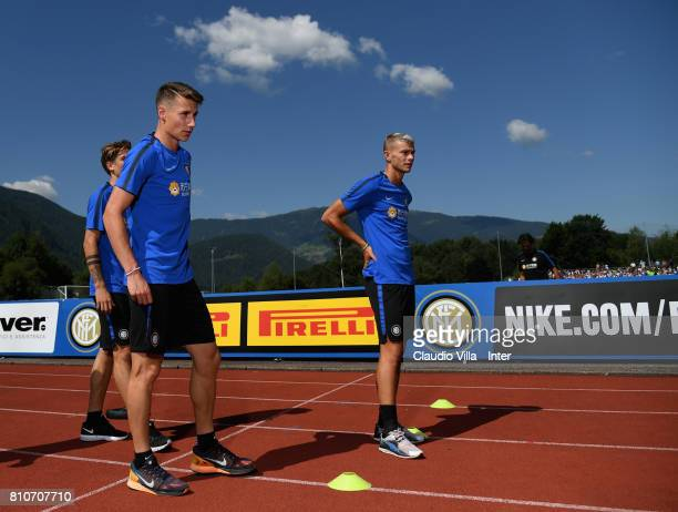 Andrea Pinamonti and Samuele Longo of FC Internazionale Milano look on during a FC Internazionale training session on July 8 2017 in Reischach near...