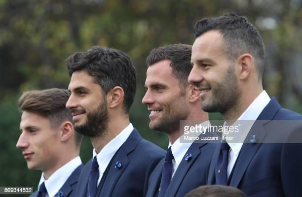Andrea Pinamonti Andrea Ranocchia Daniele Padelli and Samir Handanovic of FC Internazionale back stage during the FC Internazionale Official...
