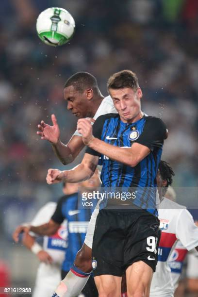 Andrea Pinamonti of FC Internazionale and Marcelo Antonio Guedes Filho of Lyon compete for the ball during the 2017 International Champions Cup match...