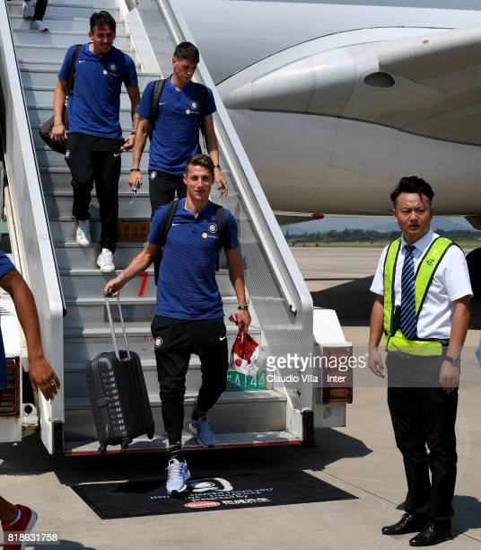 Andrea Pinamonti of FC Internazionale arrives at Nanjing International Airport on July 19 2017 in Nanjing China
