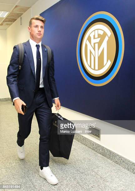 Andrea Pinamonti of FC Internazionale arrives prior to the Serie A match between FC Internazionale and Spal at Stadio Giuseppe Meazza on September 10...