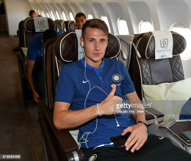 Andrea Pinamonti of FC Internazionale arrives with the team at Malpensa International Airport to depart to Nanjing International Airport for the...