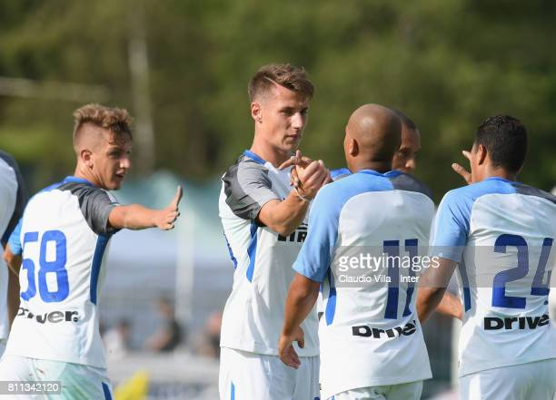 Andrea Pinamonti of FC Internazionale celebrates after scoring the opening goal during the Preseason Friendly match between FC Internazionale and...
