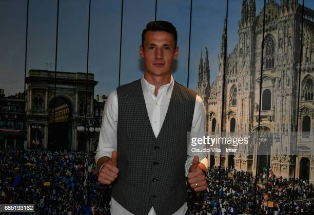 Andrea Pinamonti of FC Internazionale celebrates his 18th birthday on May 19 2017 in Milan Italy