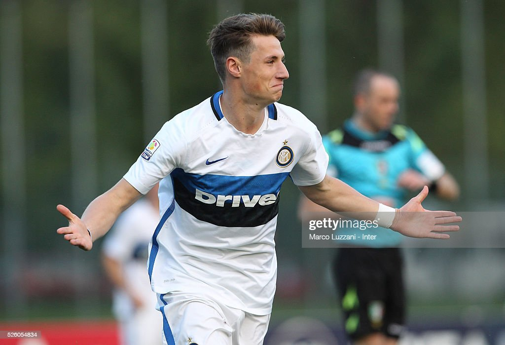 Andrea Pinamonti of FC Internazionale celebrates his goal during the juvenile match between AC Milan and FC Internazionale at Centro Sportivo Giuriati on April 29, 2016 in Milan, Italy.