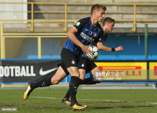 Andrea Pinamonti of FC Internazionale celebrates his goal during the UEFA Youth League Domestic Champions Path match between FC Internazionale and...