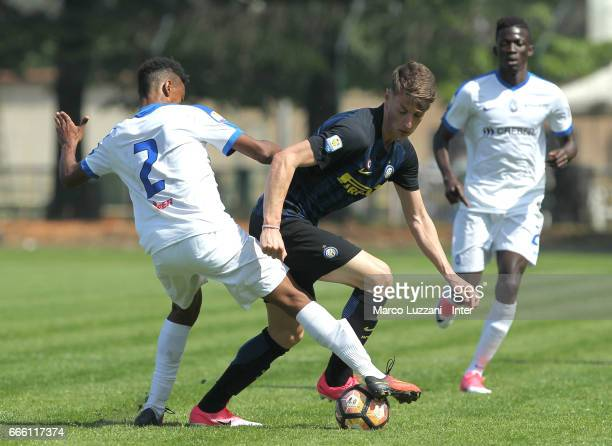 Andrea Pinamonti of FC Internazionale competes for the ball during the Primavera Tim juvenile match between FC Internazionale and Atalanta BC at...